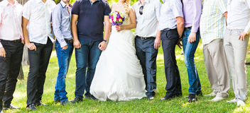 Groomsman and Bride. Wedding couple with friends stock images