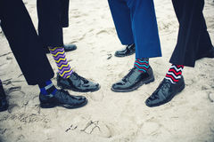 Groomsmen and groom's feet Royalty Free Stock Photography