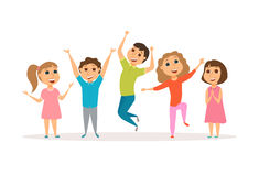 Groop of happy kids. Happy kids. Groop of smile child. Friends dancing, jumping and laughing together. Group of happy girl and boy have fun. Cartoon preschoolers Royalty Free Stock Photo