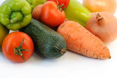 Groop of  vegetables. Groop of fresh vegetables on white. Closeup Royalty Free Stock Photos