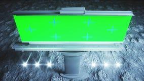 Groot aanplakbord op de maan Aardeachtergrond het 3d teruggeven Stock Afbeelding