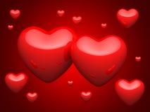 Groot aantal rode harten Stock Afbeelding