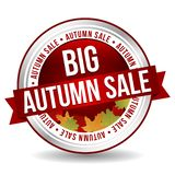 Groot Autumn Sale Button - Online Kenteken Marketing Banner met Lint stock illustratie