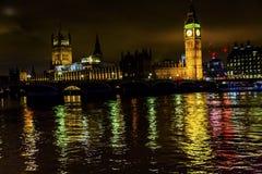 Groot Ben Tower Houses Parliament Thames-Engeland van Rivierwestminster Stock Foto's