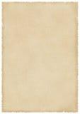 Groot bevlekt oud document met brandwond en gescheurde randen Royalty-vrije Stock Foto