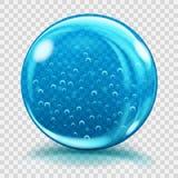 Groot blauw glasgebied met luchtbellen Stock Afbeelding