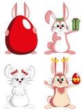 Groot Bunny Collection - Zoete vrouwelijke konijnmascottes Stock Afbeeldingen