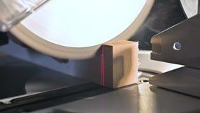 Groot close-up Een timmerman die een houten raad met een elektrische cirkelzaagmachine snijden Langzame motie van stofdeeltjes stock videobeelden