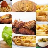 Groot collagebeeld van voedsel stock afbeelding