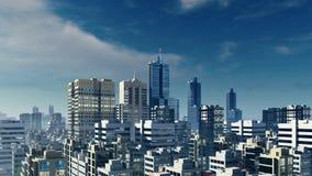 Groot de gebouwenpanorama van de binnenstad van de stads hoog stijging royalty-vrije illustratie