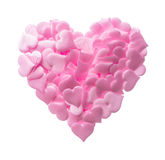 Groot die hart van kleine roze harten wordt gemaakt Stock Afbeeldingen