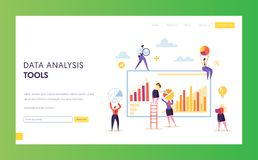 Groot Digitaal Marketing de Grafieklandingspagina van de Gegevensanalyse Seo Strategy Result Analyzing Chart-Presentatiesoftware royalty-vrije illustratie