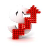 Groot dollarteken met het groeien van rode pijl Stock Foto