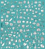 Groot doodled geneeskunde en gezondheidspictogrammeninzameling in zwarte en wh Royalty-vrije Stock Afbeeldingen
