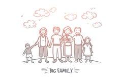 Groot Familieconcept Hand getrokken geïsoleerde vector stock illustratie