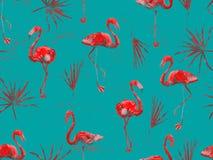 Groot flamingo rood Hawaiiaans naadloos patroon royalty-vrije stock foto