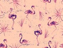 Groot flamingo rood Hawaiiaans naadloos patroon stock foto's