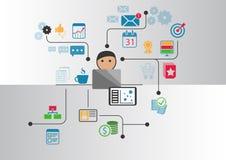 Groot gegevens, analytics en bedrijfsintelligentieconcept Beeldverhaalpersoon die met gegevens en informatie wordt verbonden die  Stock Afbeeldingen