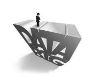 Groot gegevens 3D grijs woord met zakenman status op bovenkant Royalty-vrije Stock Foto's