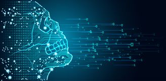 Groot gegevens en kunstmatige intelligentiegevaarsconcept stock illustratie