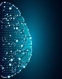 Groot gegevens en kunstmatige intelligentiehersenenconcept stock illustratie