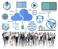 Groot Gegevens het Delen Online Globaal Communicatie Wolkenconcept Royalty-vrije Stock Foto's