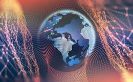 Groot gegevensconcept Cyberspace planeet Groeten over de Wereld royalty-vrije illustratie