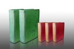 Groot groen boek en klein rood boek Stock Foto