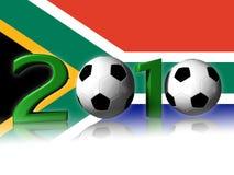 Groot het voetbalembleem van 2010 met de vlag van Zuid-Afrika Royalty-vrije Stock Foto's