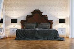 Houten groot bed in slaapkamer royalty vrije stock fotografie afbeelding 10317587 - Eigentijdse bed tafel ...
