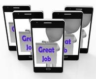 Groot Job Phone Means Well Done en Lof Stock Fotografie