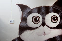 Groot Kattenmuurschilderij Stock Afbeeldingen