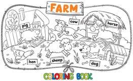 Groot kleurend boek met landbouwbedrijfdieren Stock Foto
