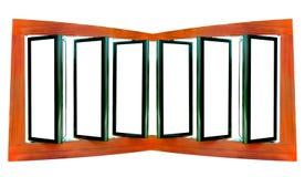 Groot leeg houten aanplakbord drie dat op wit wordt geïsoleerd Royalty-vrije Stock Fotografie