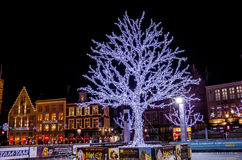 Groot Marktvierkant tijdens Kerstmis stock foto