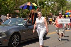 Groot Marshall Brent Hawkes in de Parade van Toronto WorldPride Royalty-vrije Stock Fotografie