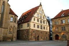 Groot middeleeuws huis in het centrum van Stuttgart Royalty-vrije Stock Foto's