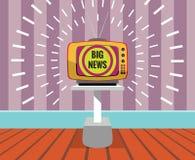 Groot nieuws - tekening van een TELEVISIE met het grote nieuwsscherm Royalty-vrije Stock Afbeeldingen
