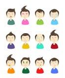 Groot ontworpen beeldverhaal emoticons Stock Afbeeldingen