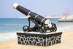 Groot oud kanon in Colombo, Sri Lanka Stock Afbeelding