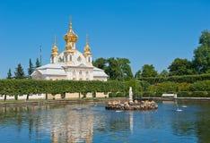 Groot paleis, Petergof, Rusland stock afbeeldingen