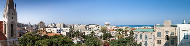 Groot panorama op de oude stad van Tel. Aviv Yafo stock foto