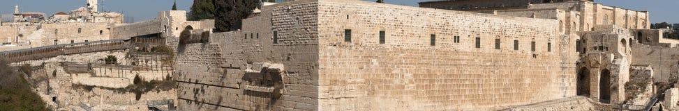 Groot panorama van Westelijke Muur jeruzalem royalty-vrije stock fotografie