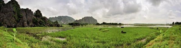 Groot panoramisch beeld met karst vorming in het water Stock Afbeelding