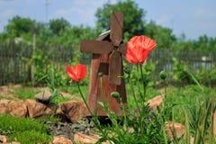 Groot papaversclose-up Mooie grote rode bloemen stock foto's