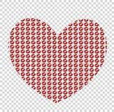 Groot rood die hart van kissmarks op transparante backgrou wordt gemaakt stock illustratie