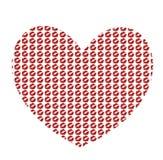 Groot rood die hart van kissmarks wordt gemaakt op witte achtergrond wordt geïsoleerd stock illustratie