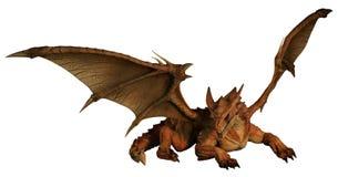 Groot Rood Dragon Prowling Stock Afbeeldingen