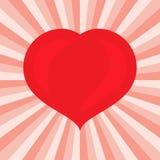 Groot Rood Hart Romantisch liefdesymbool van valentijnskaartdag Stock Fotografie
