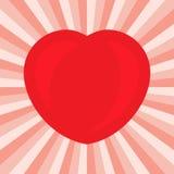 Groot Rood Hart Romantisch liefdesymbool van valentijnskaartdag Stock Foto's
